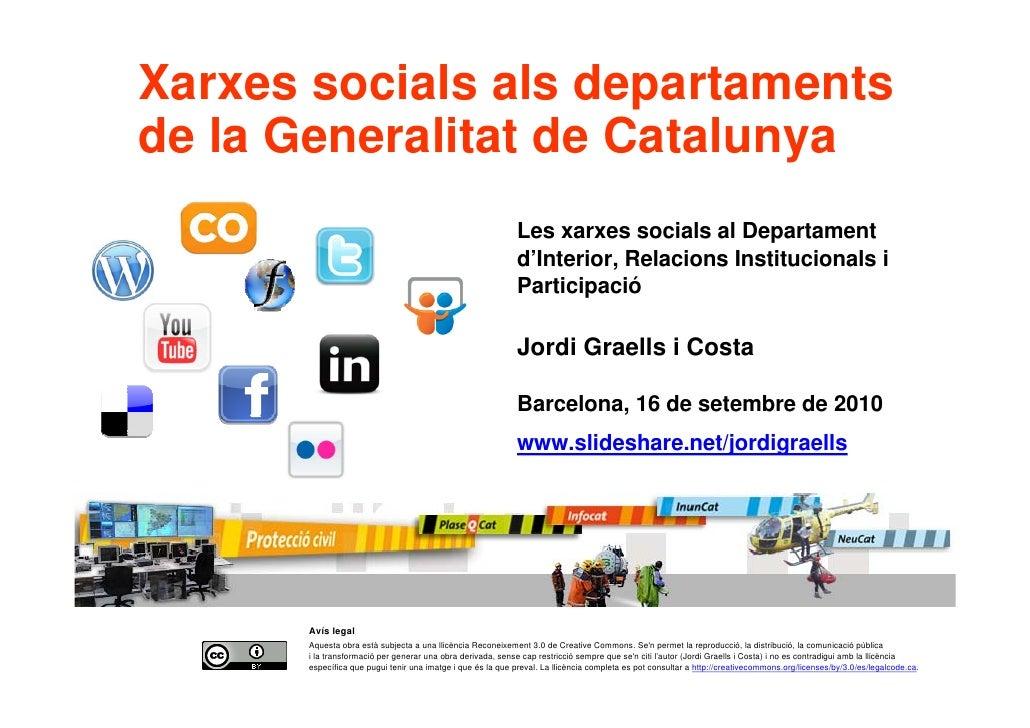 Xarxes socials als departaments     de la Generalitat de Catalunya                                                        ...