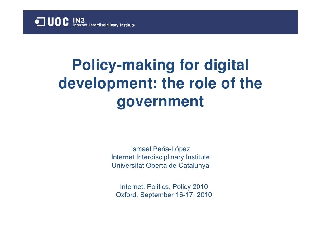 the role of government in policy Reinventing industrial strategy: the role of government policy in building industrial competitiveness iii preface the g-24 discussion paper series is a collection of.