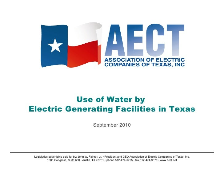 Use of Water by Electric Generating Facilities in Texas                                                 September 2010!   ...