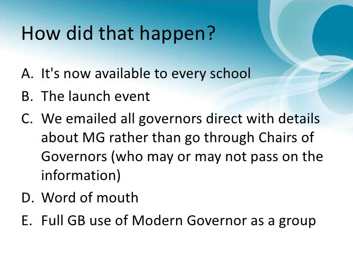 How did that happen?<br />It's now available to every school <br />The launch event<br />We emailed all governors direct w...