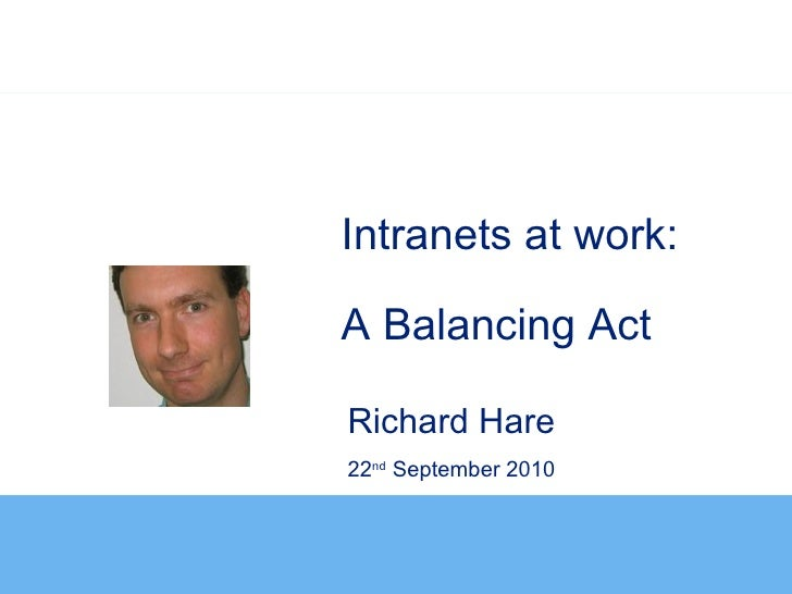 Intranets at work:A Balancing ActRichard Hare22nd September 2010