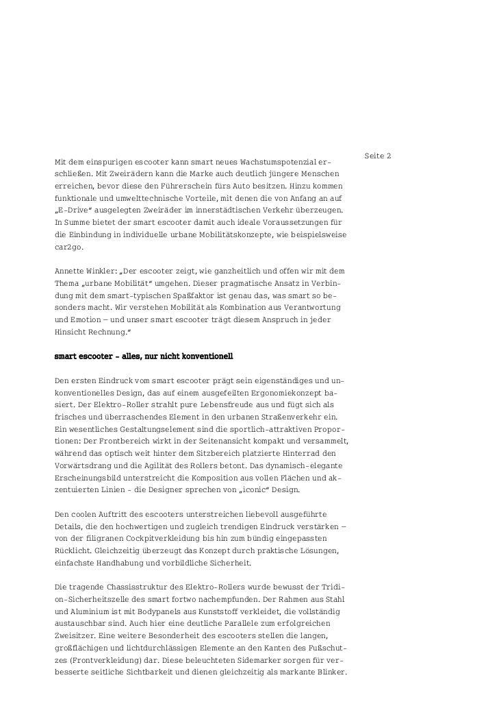 Seite 2Mit dem einspurigen escooter kann smart neues Wachstumspotenzial er-schließen. Mit Zweirädern kann die Marke auch d...