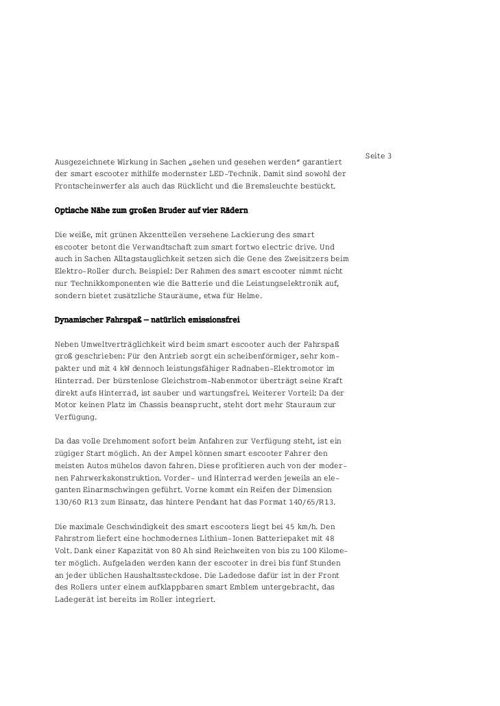 """Seite 3Ausgezeichnete Wirkung in Sachen """"sehen und gesehen werden"""" garantiertder smart escooter mithilfe modernster LED-Te..."""