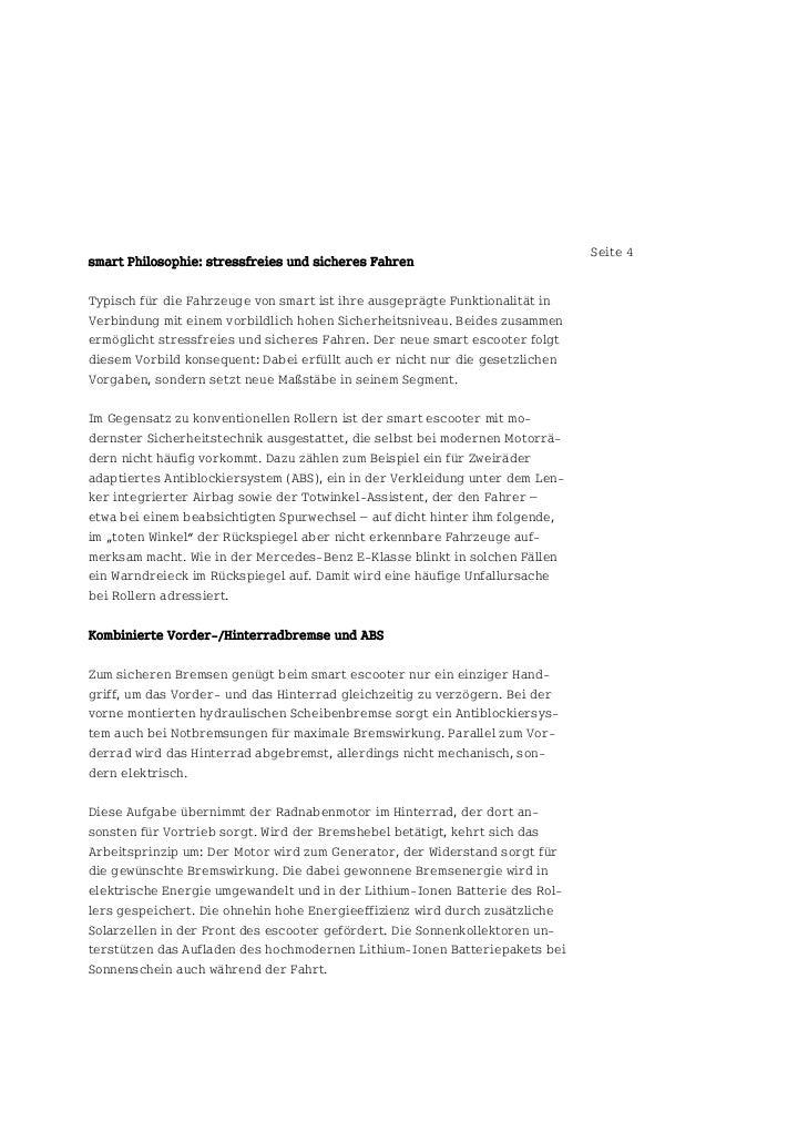 Seite 4smart Philosophie: stressfreies und sicheres FahrenTypisch für die Fahrzeuge von smart ist ihre ausgeprägte Funktio...