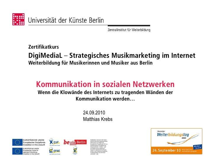 Kommunikation in Sozialen Netzwerken