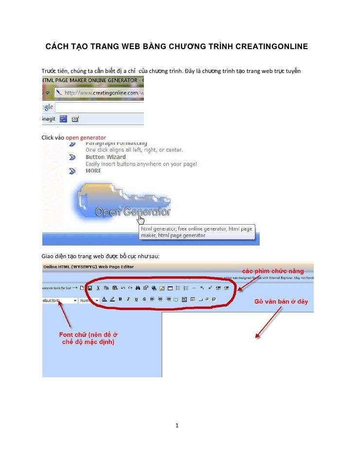 CÁCH TẠO TRANG WEB BẰNG CHƯƠNG TRÌNH CREATINGONLINE<br />Trước tiên, chúng ta cần biết địa chỉ của chương trình. Đây là ch...
