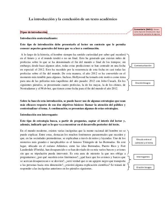La introducción y la conclusión de un texto académico Tipos de introducción: Introducción contextualizante: Este tipo de i...