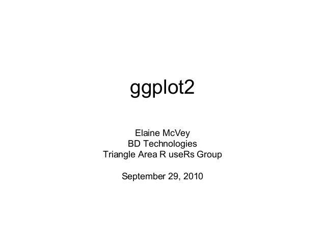ggplot2 Elaine McVey BD Technologies Triangle Area R useRs Group September 29, 2010