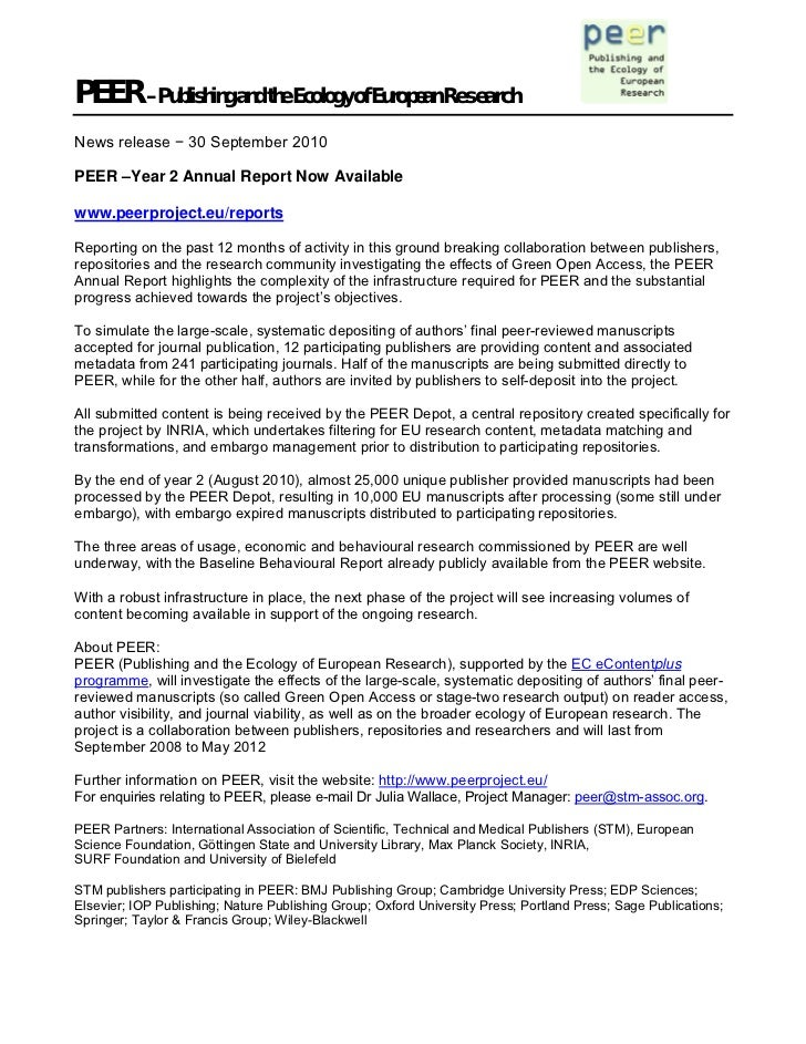 PEER – Publishing and the Ecology of European ResearchNews release − 30 September 2010PEER –Year 2 Annual Report Now Avail...