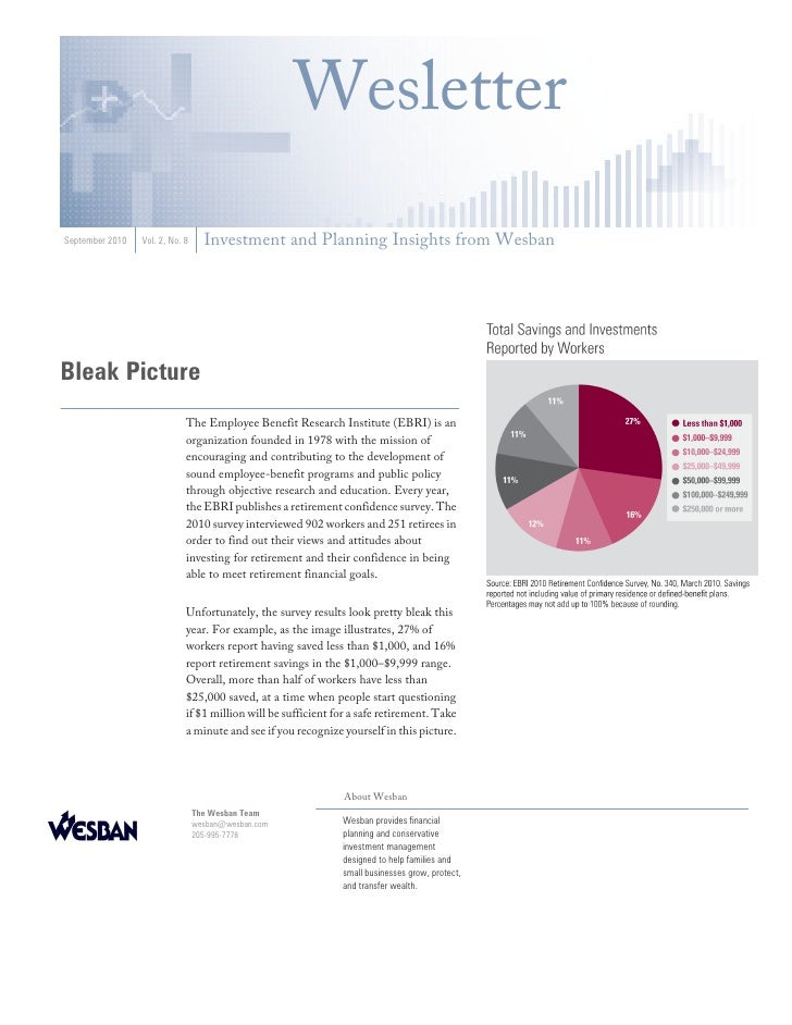 Wesletter September 2010   Vol. 2, No. 8     Investment and Planning Insights from Wesban     Bleak Picture               ...