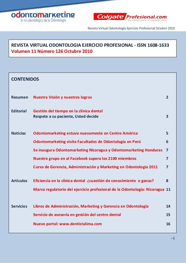 Revista Virtual Odontología Ejercicio Profesional Octubre 2010REVISTA VIRTUAL ODONTOLOGIA EJERCICIO PROFESIONAL - ISSN 160...