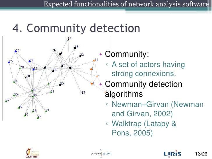 4. Communitydetection<br />Community:<br />A set of actorshavingstrong connexions.<br />Communitydetectionalgorithms<br />...