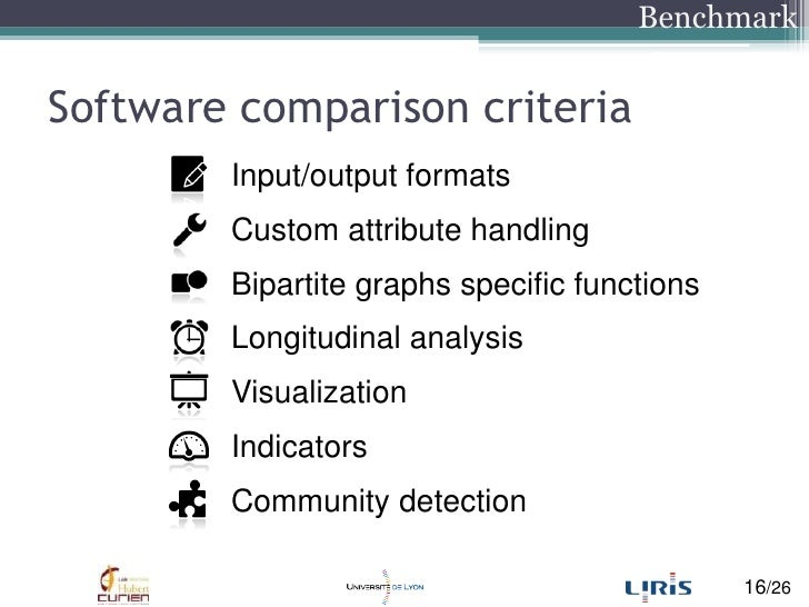 Software comparisoncriteria<br />Input/output formats<br />Custom attribute handling<br />Bipartite graphs specific functi...