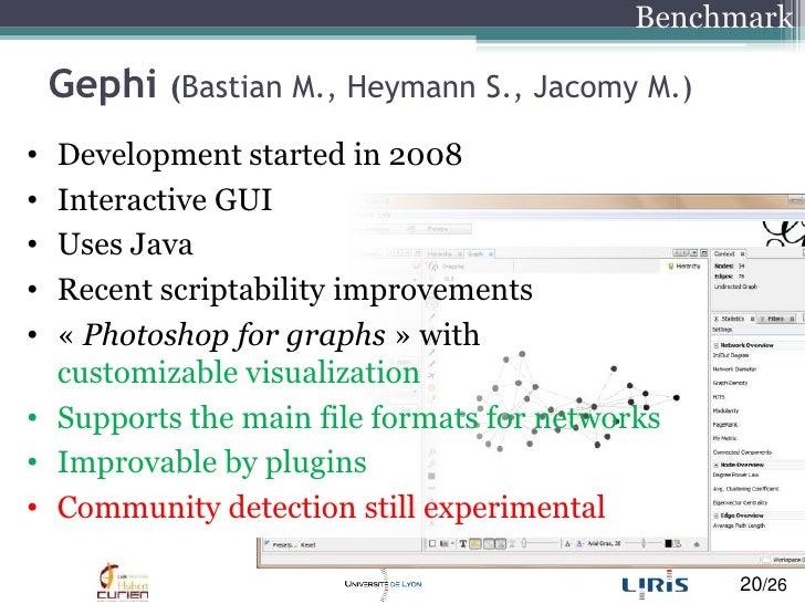 Gephi(Bastian M., Heymann S., Jacomy M.)<br />Benchmark<br />Development started in 2008<br />Interactive GUI<br />Uses Ja...