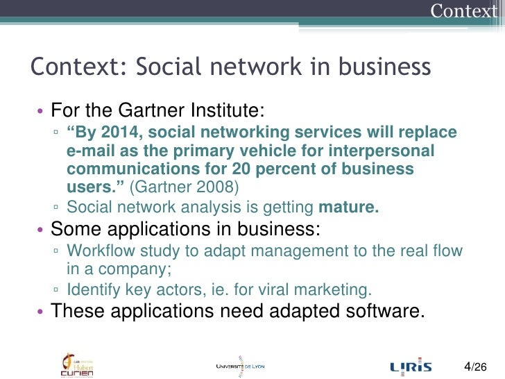 """Context: Social network in business<br />For the Gartner Institute:<br />""""By 2014, social networking services will replace..."""