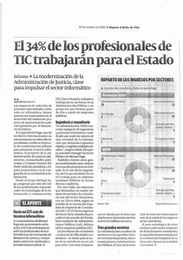 22 de octubre de 2010 .:. Negocio & Estilo de Vida El34%delosprofesionalesde TICtrabajaránparaelEstado Inf r .:. La modern...