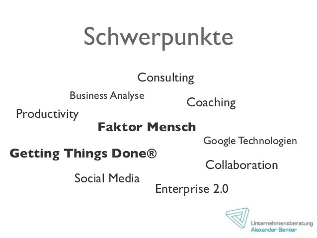 Schwerpunkte Coaching Consulting Business Analyse Productivity Faktor Mensch Google Technologien Collaboration Getting Thi...