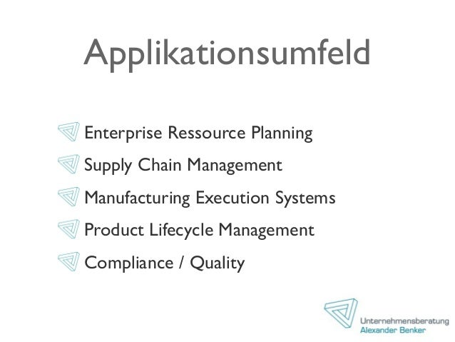 Applikationsumfeld Enterprise Ressource Planning Supply Chain Management Manufacturing Execution Systems Product Lifecycle...