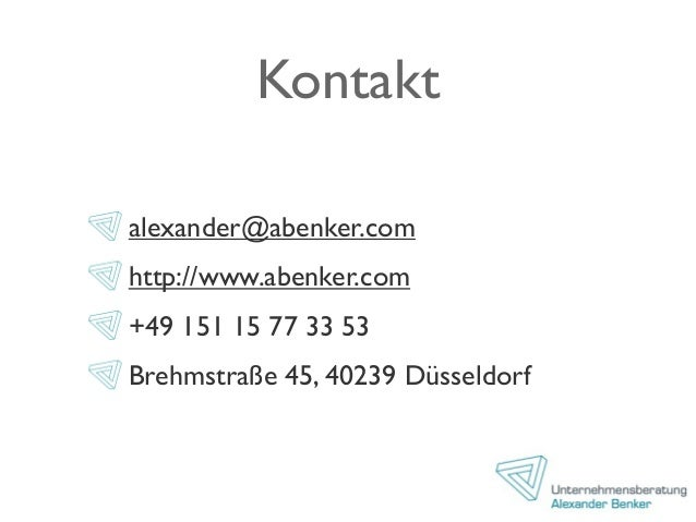 Kontakt alexander@abenker.com http://www.abenker.com +49 151 15 77 33 53 Brehmstraße 45, 40239 Düsseldorf