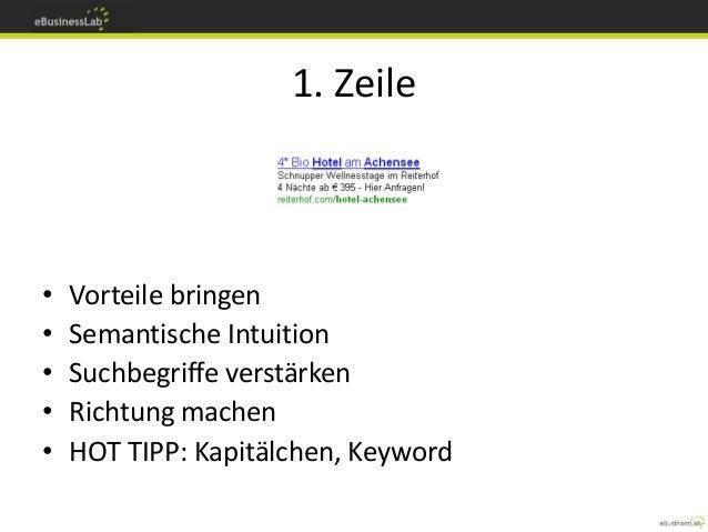1. Zeile • Vorteile bringen • Semantische Intuition • Suchbegriffe verstärken • Richtung machen • HOT TIPP: Kapitälchen, K...