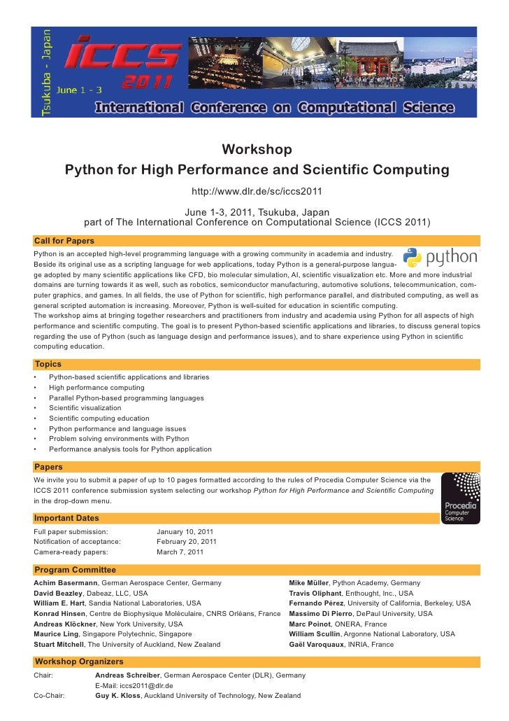 Workshop         Python for High Performance and Scientific Computing                                                 http...