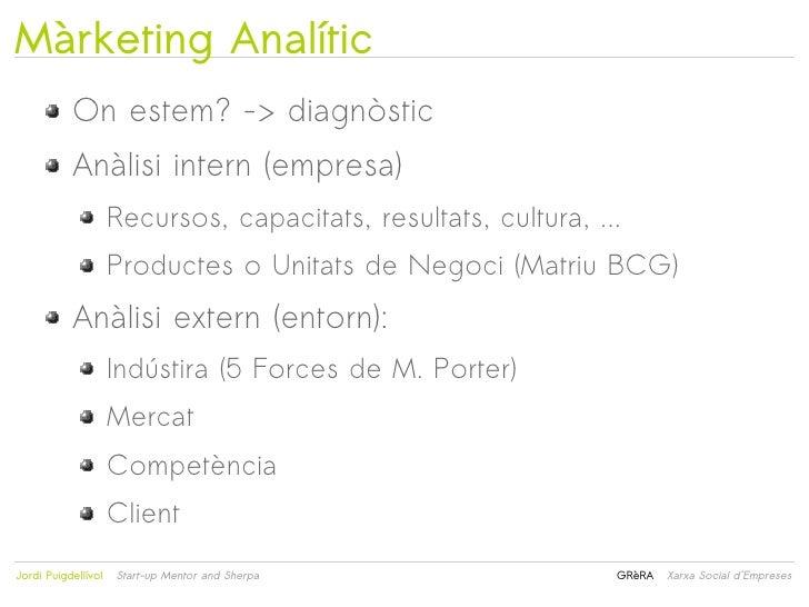 Màrketing Analític           On estem? -> diagnòstic           Anàlisi intern (empresa)                     Recursos, capa...