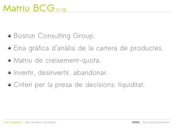 Matriu BCG (1/3)         Boston Consulting Group.         Eina gràfica danàlisi de la cartera de productes.         Matriu...