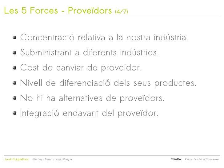 Les 5 Forces – Proveïdors                             (4/7)           Concentració relativa a la nostra indústria.        ...