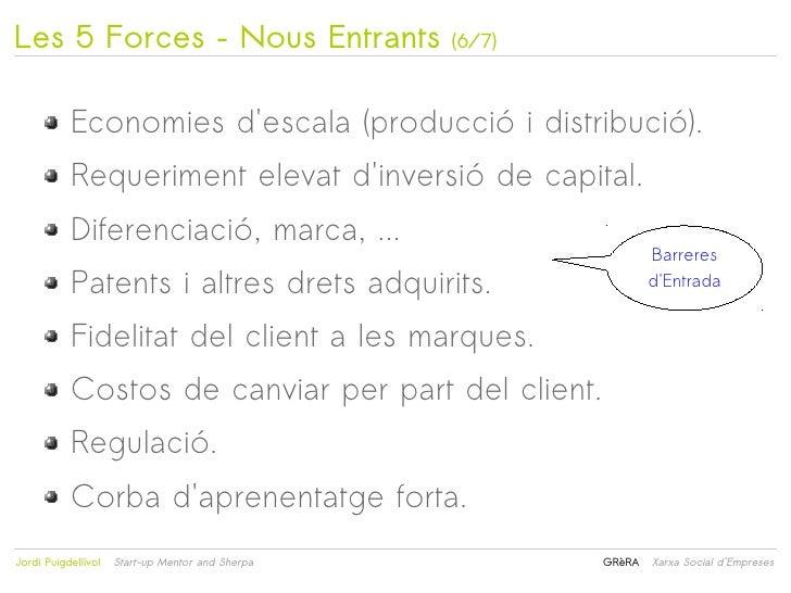 Les 5 Forces – Nous Entrants                          (6/7)           Economies descala (producció i distribució).        ...