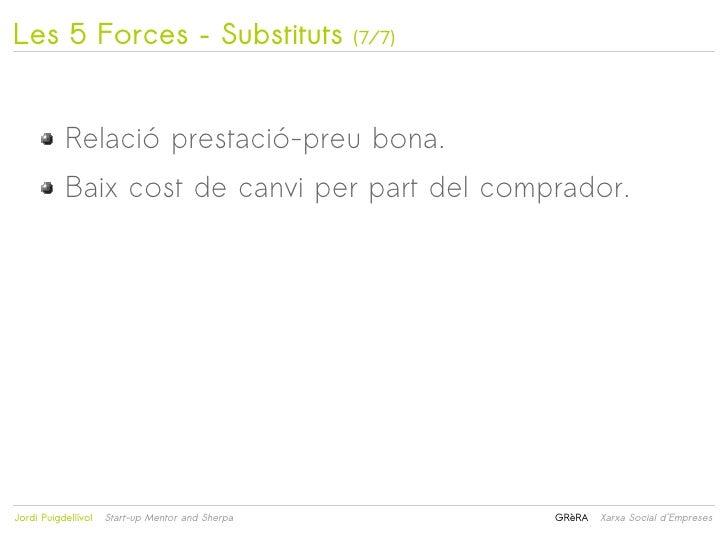 Les 5 Forces – Substituts                         (7/7)           Relació prestació-preu bona.           Baix cost de canv...