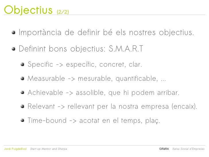 Objectius                               (2/2)           Importància de definir bé els nostres objectius.           Definin...