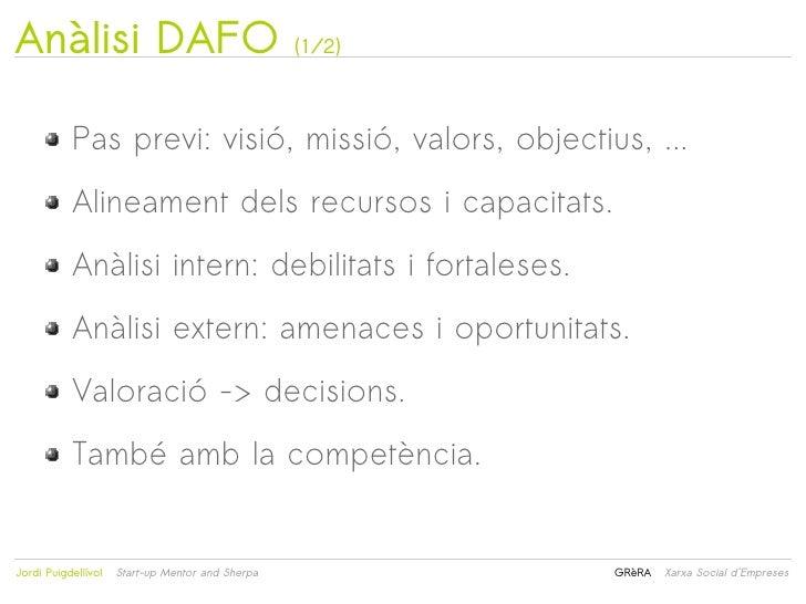 Anàlisi DAFO                                      (1/2)           Pas previ: visió, missió, valors, objectius, ...        ...