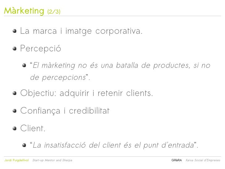 """Màrketing                     (2/3)           La marca i imatge corporativa.           Percepció                     """"El m..."""