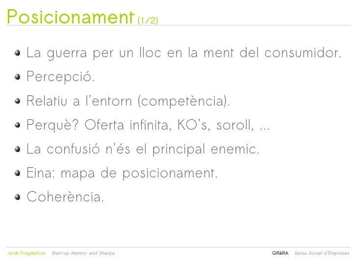 Posicionament (1/2)         La guerra per un lloc en la ment del consumidor.         Percepció.         Relatiu a lentorn ...