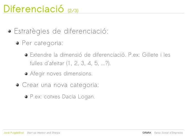 Diferenciació                                     (2/3)         Estratègies de diferenciació:                Per categoria...