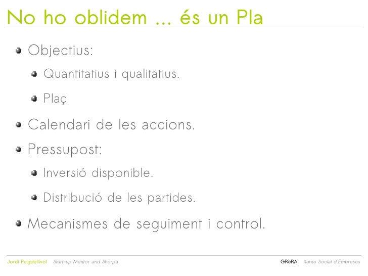 No ho oblidem … és un Pla         Objectius:                Quantitatius i qualitatius.                Plaç         Calend...