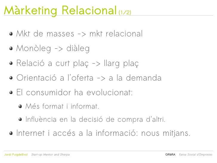 Màrketing Relacional (1/2)         Mkt de masses -> mkt relacional         Monòleg -> diàleg         Relació a curt plaç -...