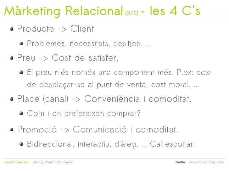 Màrketing Relacional (2/2) – les 4 Cs         Producte -> Client.                Problemes, necessitats, desitjos, ...    ...