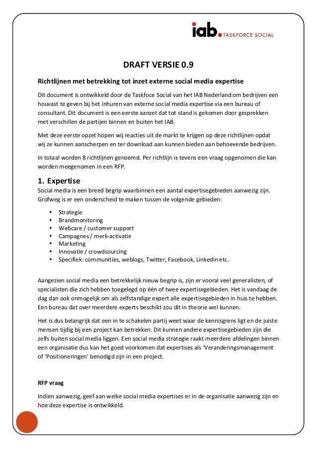 DRAFT  VERSIE  0.9   Richtlijnen  met  betrekking  tot  inzet  externe  social  media...