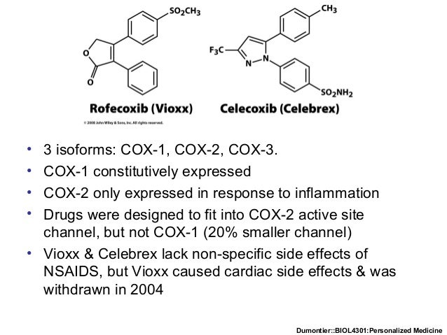 Dumontier::BIOL4301:Personalized Medicine • 3 isoforms: COX-1, COX-2, COX-3. • COX-1 constitutively expressed • COX-2 only...