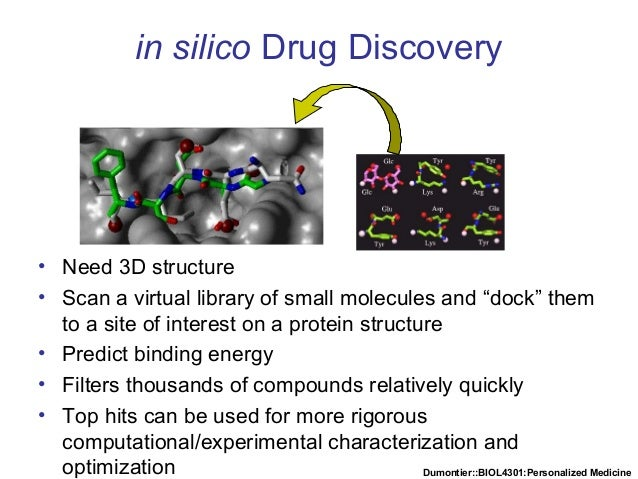 Dumontier::BIOL4301:Personalized Medicine in silico Drug Discovery • Need 3D structure • Scan a virtual library of small m...