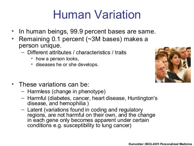 Dumontier::BIOL4301:Personalized Medicine Human Variation • In human beings, 99.9 percent bases are same. • Remaining 0.1 ...