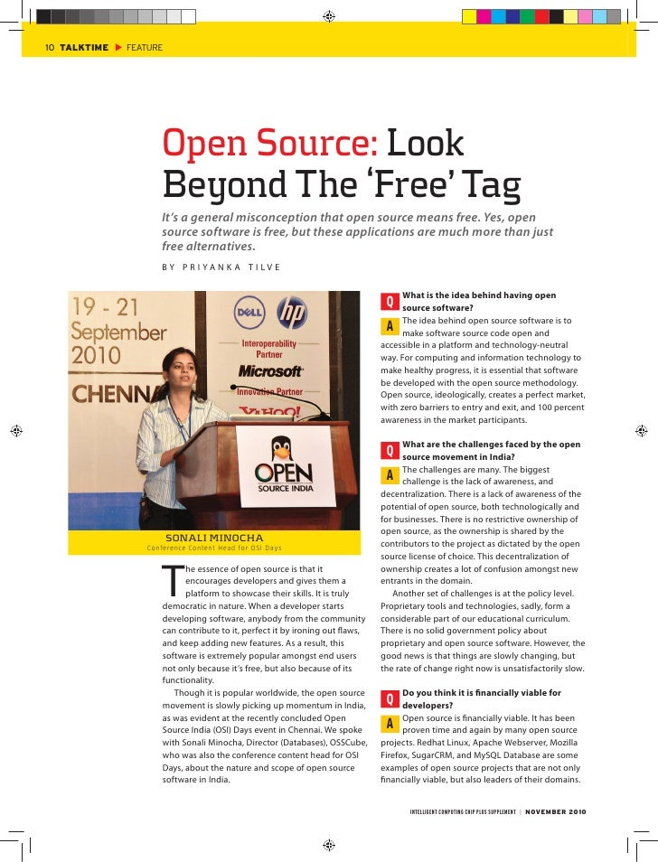 Interview of Sonali Minocha in Chip Plus, Nov 2010 - Open Source: Look beyond the FREE Tag