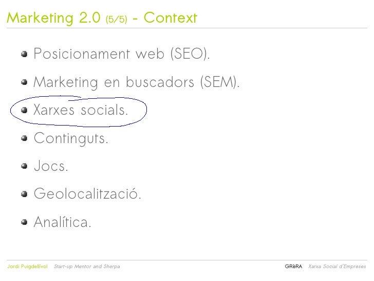 Marketing 2.0                            (5/5)    – Context           Posicionament web (SEO).           Marketing en busc...