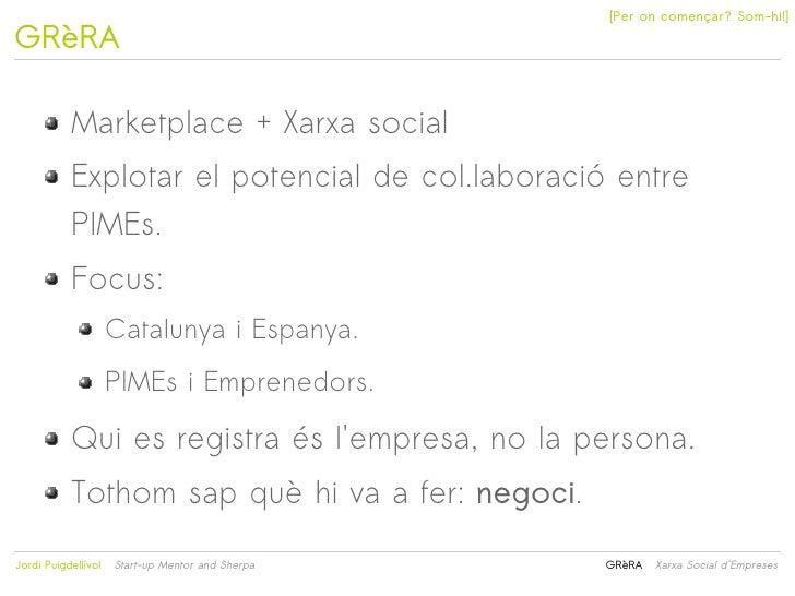 [Per on començar? Som-hi!]GRèRA           Marketplace + Xarxa social           Explotar el potencial de col.laboració entr...
