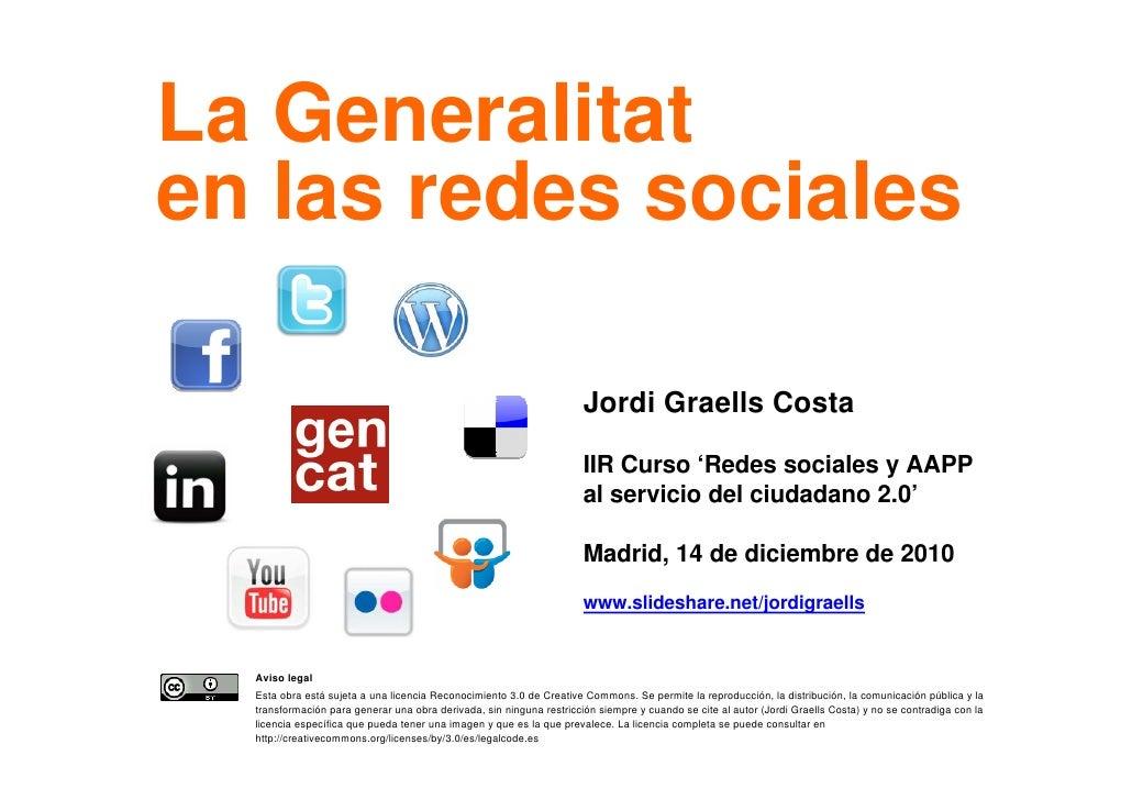 La Generalitat    en las redes sociales                                                                          Jordi Gra...