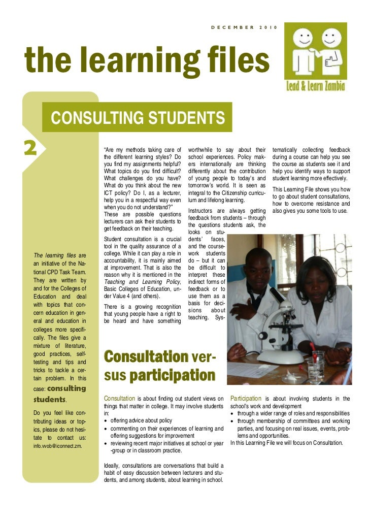 """D E C E M B E R        2 0 1 0the learning files       CONSULTING STUDENTS2                          """"Are my methods takin..."""