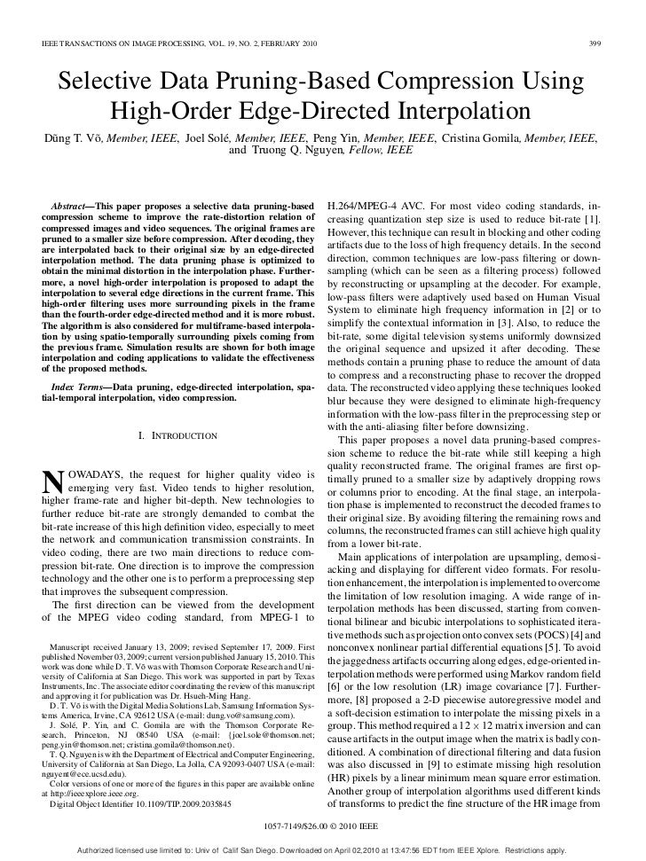 IEEE TRANSACTIONS ON IMAGE PROCESSING, VOL. 19, NO. 2, FEBRUARY 2010                                                      ...