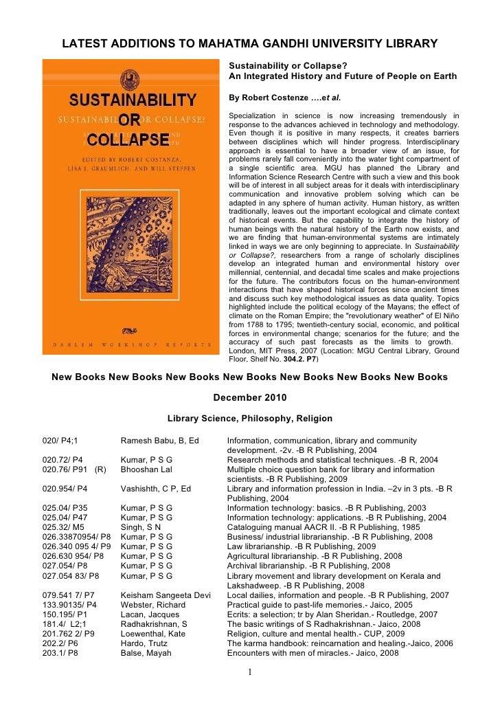 LATEST ADDITIONS TO MAHATMA GANDHI UNIVERSITY LIBRARY                                              Sustainability or Colla...