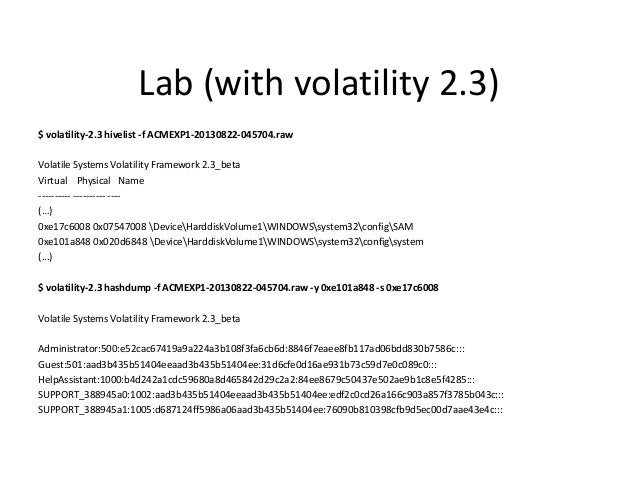 Lab * • Cracking the hashes using RainbowTables • Offline – OphCrack / rcrack / PRTK-DNA / EDPR / Passware  • Online: – ht...